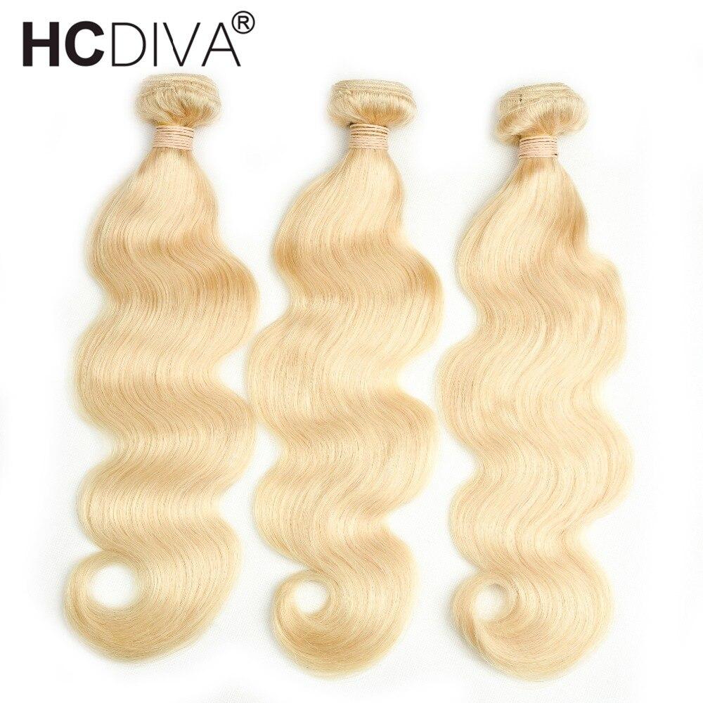 HCDIVA Peruvian Body Wave Hair Weave 613 Blonde Non Remy Hair 3 Bundles 100% Platinum Human Hair Extension Free Shipping