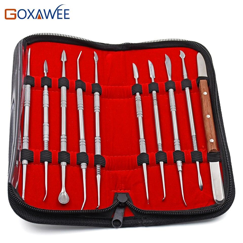 GOXAWEE 10 pcs Haute Qualité Dentaire Équipement De Laboratoire Cire Sculpture Outils Set Chirurgicale Dentiste Sculpture Couteau Instruments Outil Kit