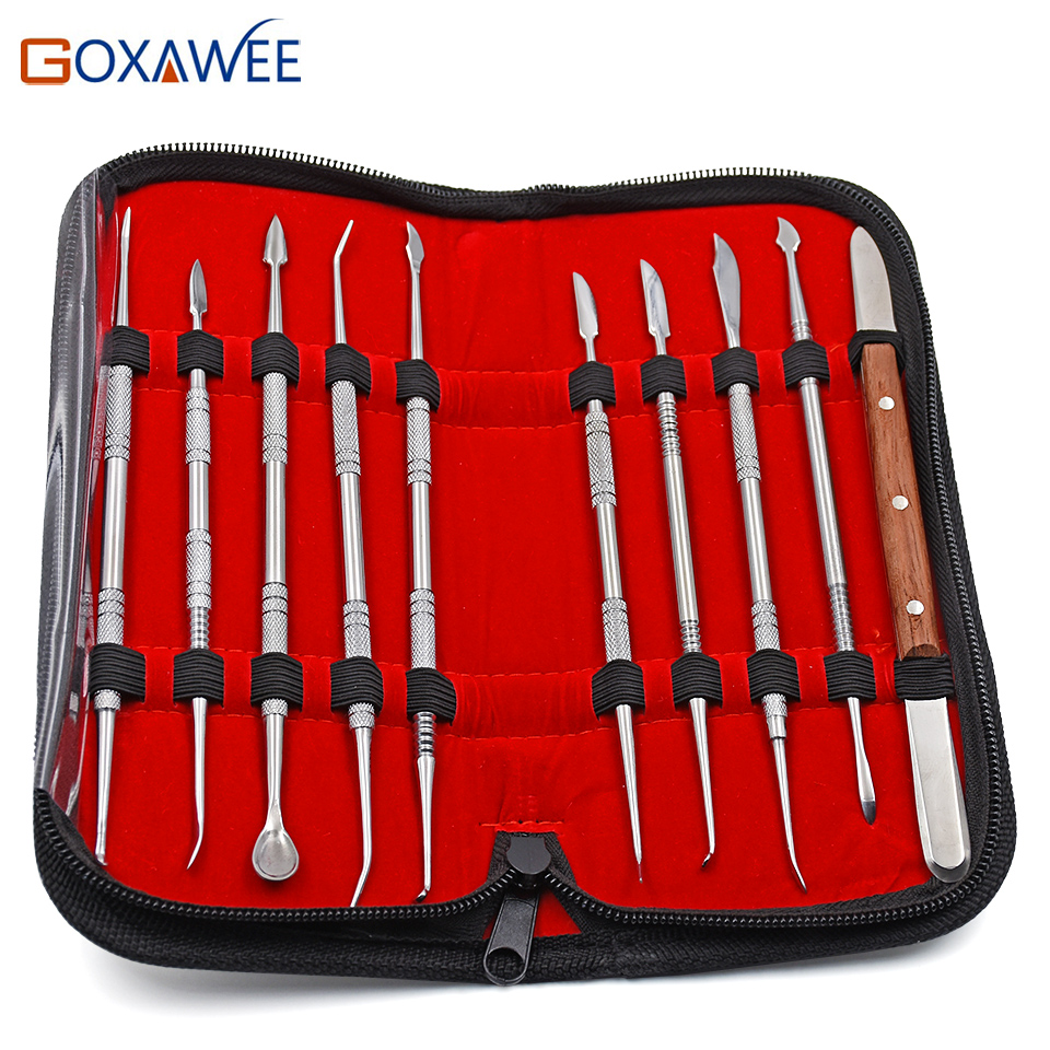 GOXAWEE 10pcs High Quality Dental Lab Equipment Wax Carving Tools Set Surgical Dentist Sculpture Knife Instruments Tool Kit 1 set new dental lab equipment automatic crown remover set dentist tools for dental materials