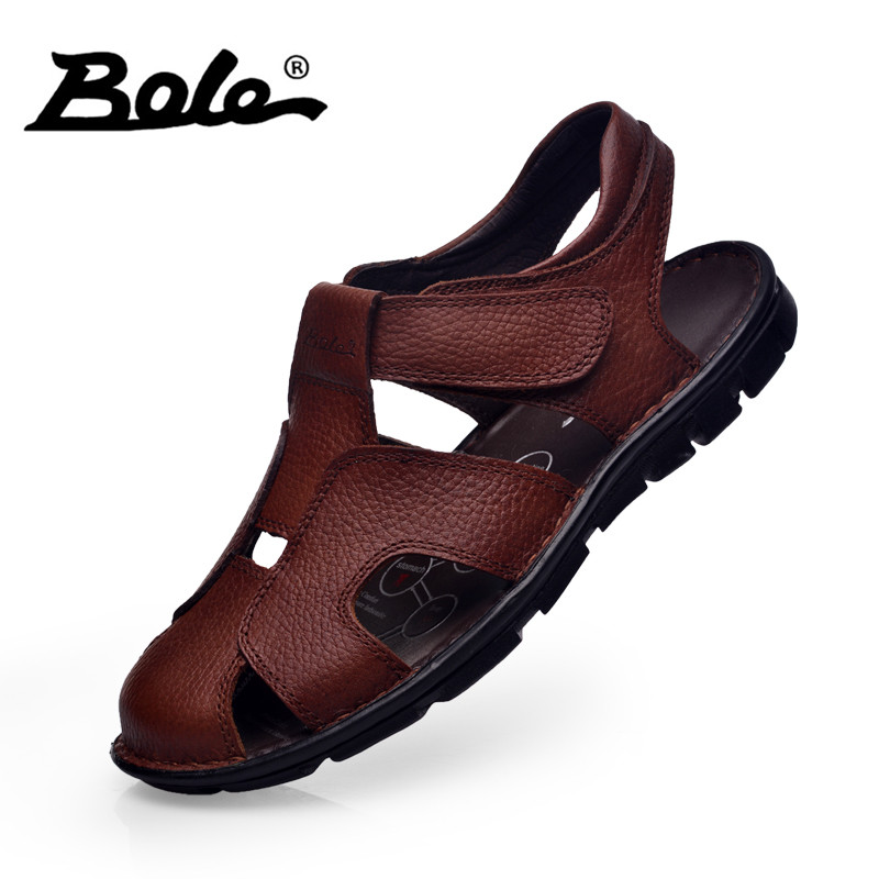 BOLE New Arrival Men Beach Sandals Handmade Moccasins Genuine Leather Summer Shoes For Men Leisure Walking Durable Flat Sandals