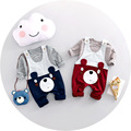 2017 Novas Roupas Primavera Bebê Definir 100% Do Bebê Do Algodão Das Meninas do Menino Calças Conjunto de roupas de Bebê Longo-sleeved Crianças Bebes Conjunto de Roupas 2 Pcs