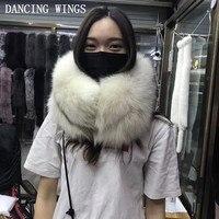 Роскошные свадебные из натуральной вся кожа Лисий мех шеи кольцо платки зима Для женщин меховые шарфы пашмины Обертывания