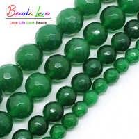 Großhandel Faceted Grüne Stein Runde Perlen Für Schmuck Machen 15 zoll 4 6 8 10 12mm Diy Schmuck- f00495