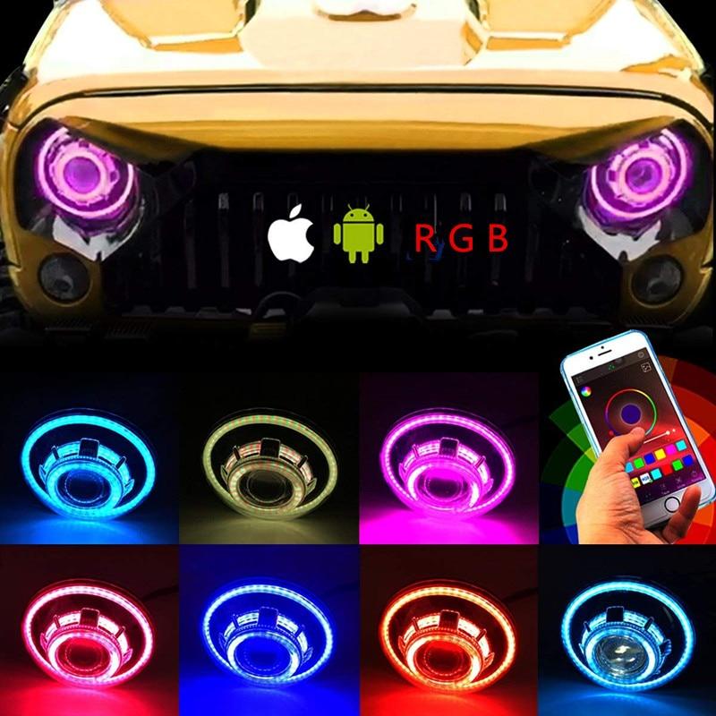 7inch LED Headlights Light RGB Halo Angel Eye Lamp App For Jeep Wrangler
