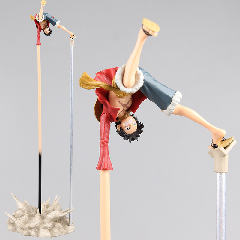 35cm Japanese Anime One Piece Handstand Luffy PVC Action Figure Collection Model Toy Gift Doll Decoration 4parts sets super lovely chopper anime one piece model garage kit pvc action figure classic collection toy doll
