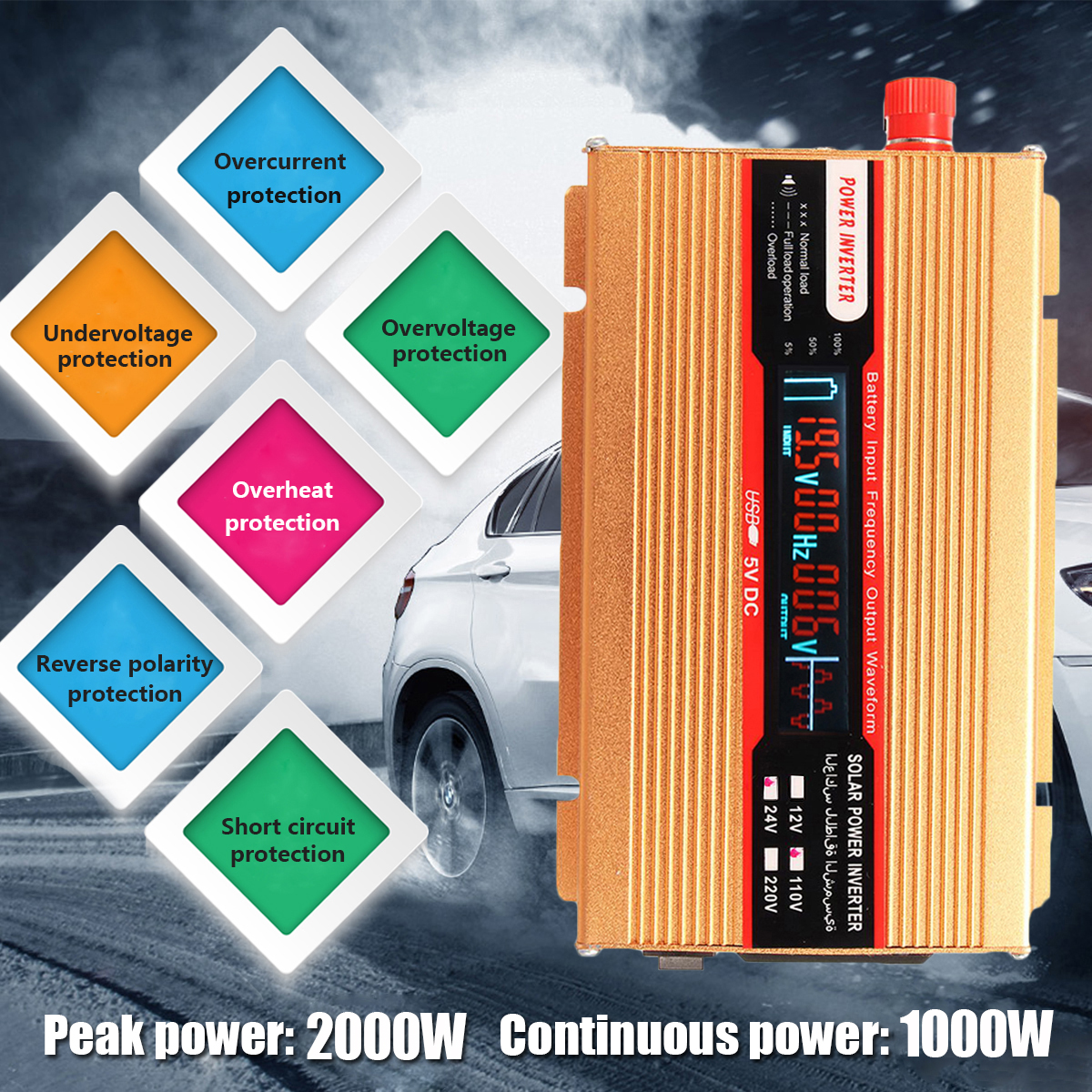 Car Power Inverter USB PEAK 2000W 12/24V To AC 220/110V Modified Sine Wave Converter for Various Appliances Voltage Transformer peak 5000w 12 24v to ac 220 110v car power inverter usb modified sine wave converter voltage transformer for various appliances