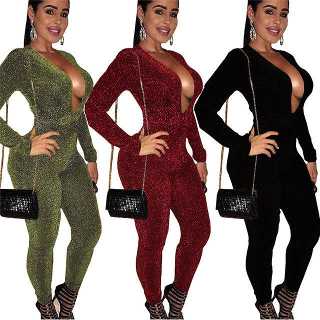 8eedf38759 Autumn Winter Sexy Women Glitter Jumpsuit Long Sleeve Deep V-Neck Skinny  Nightclub Ladies Party Bodycon Sparkly Romper Catsuit