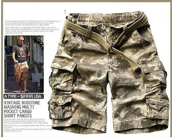 Новинка, Летний стиль, мужские повседневные армейские камуфляжные шорты Карго, хлопковые короткие штаны, военные камуфляжные модные шорты, мужские пляжные шорты - Цвет: as picture