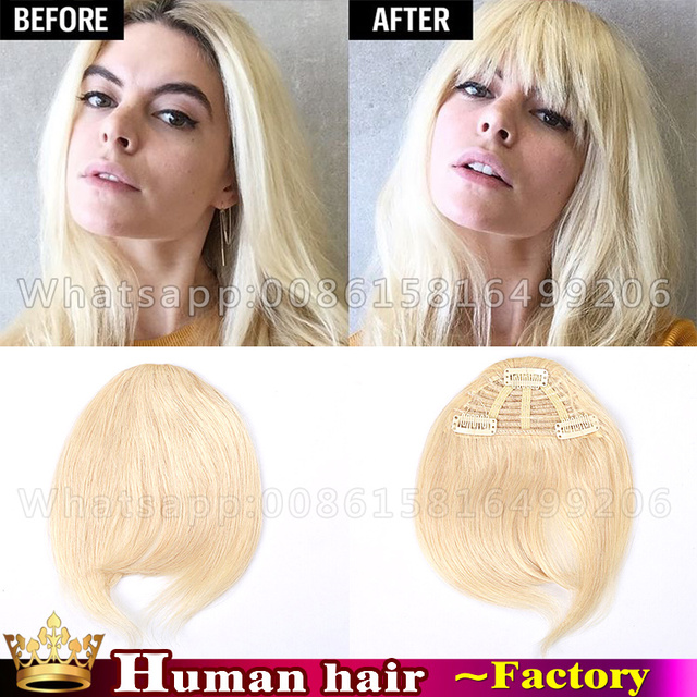 Clip In Human Real Hair Extension Bangs Clip In Fringe Honey Blonde