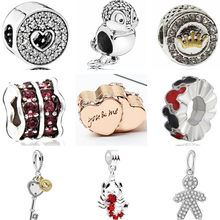 Enamel Apes Lock Bowknot Shantou Baby Boy Crystal Charms Beads Fit Pandora Bracelets & Bangles for Women New Fashion DIY Bijoux(China)