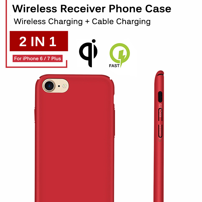Image 2 - Qi Wireless Charger Receiver Case For iPhone 7 7 Plus 2 In 1 Wireless Charging & Cable Charging Cover For iPhone 6 6s Plus Cases-in Fitted Cases from Cellphones & Telecommunications