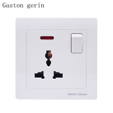 Universal Standard Wall Socket with Power Plug Outlet Panel One Button Led Light Switch 86 Type AC 13A 250V White