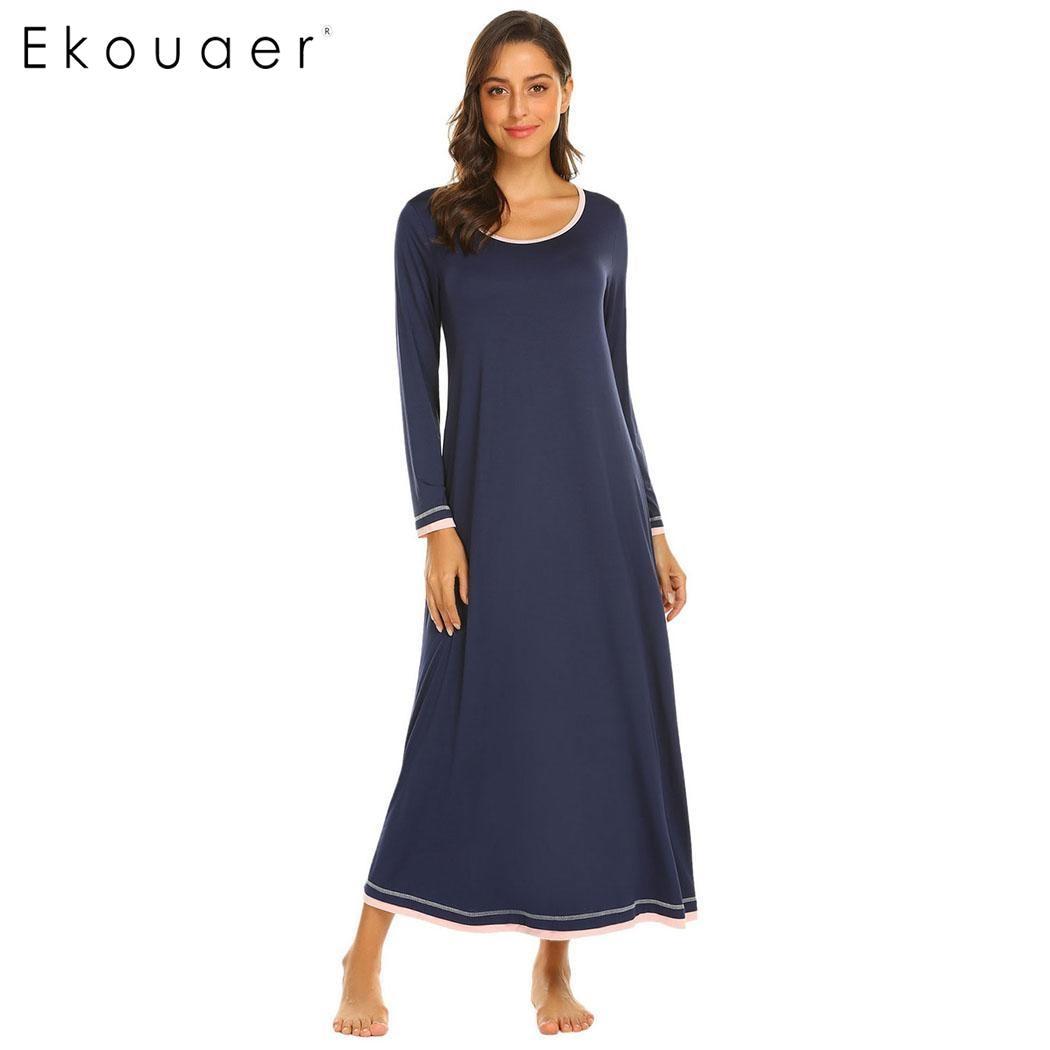 Ekouaer Long Sleeve Sleepwear Nightdress Women Solid O-Neck Chemise ...