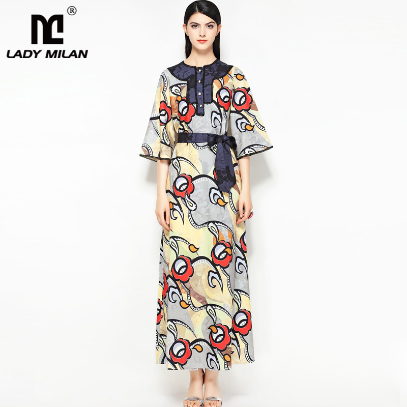 New Arrival Womens O Neck 3/4 Sleeves Printed Lace Piping Floral Elegant Casual Designer Runway Dresses