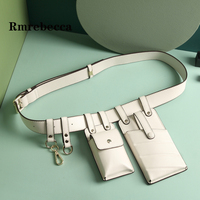 women high quality waist bag mini credit card holder white bags pack man casual functional money phone belt bag black fanny