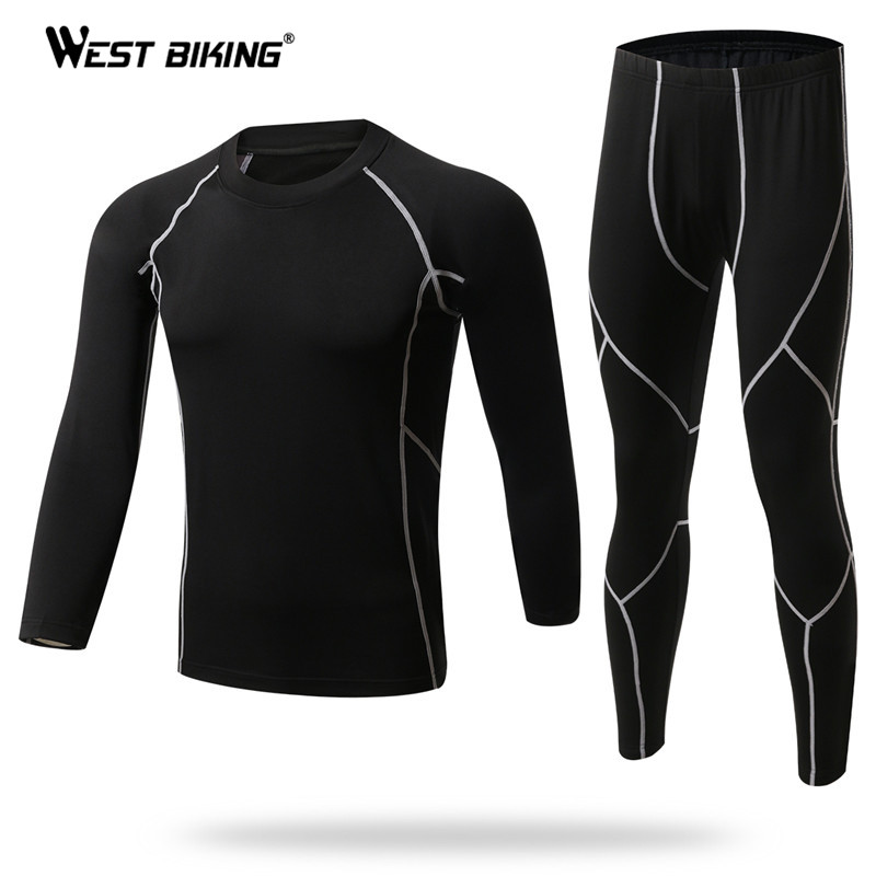 WEST BIKING Handsome Winter Base Layer Outdoor Sport Underwear Quick Dry Bike Bicycle Warm Base Layer Slim Fit Thermal Underwear цена