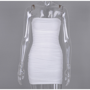 Image 5 - NewAsia 2 Layers Summer Party Dress Women 2019 New Straps Mesh Pleated Bodycon Sexy Party Dress Mini Slim Fit Ruched White Dress