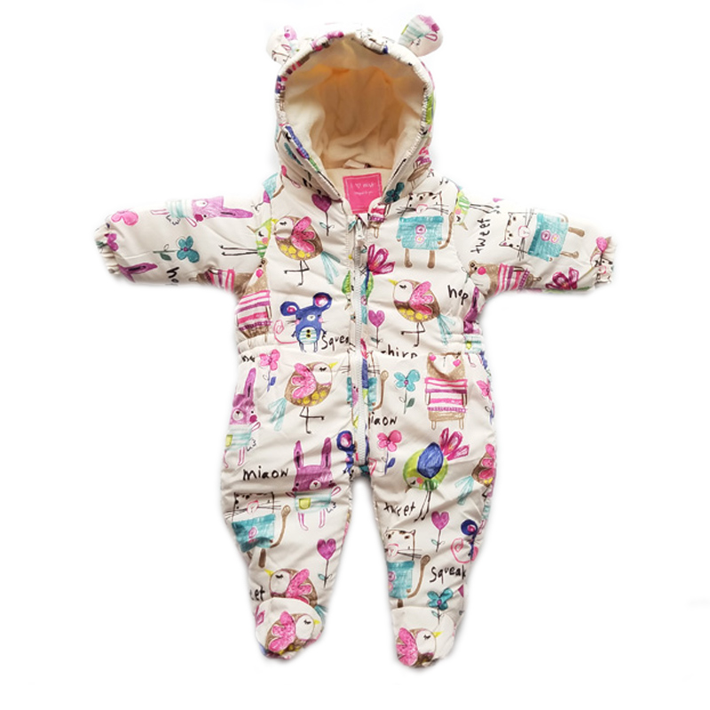 все цены на Newborn Baby Clothes Baby Winter Romper Thick Infant Jumpsuit Winter Clothing Hooded Cartoon Animals Graffiti Winter Baby Romper