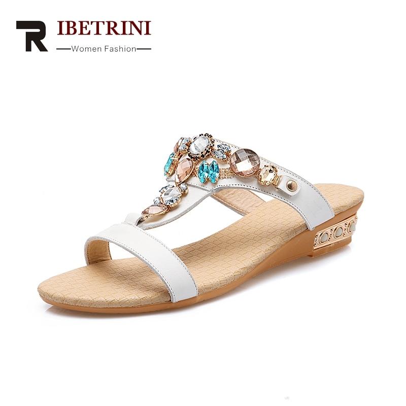 RIBETRINI 2018 cristales de moda de cuero genuino zapatos de mujer - Zapatos de mujer