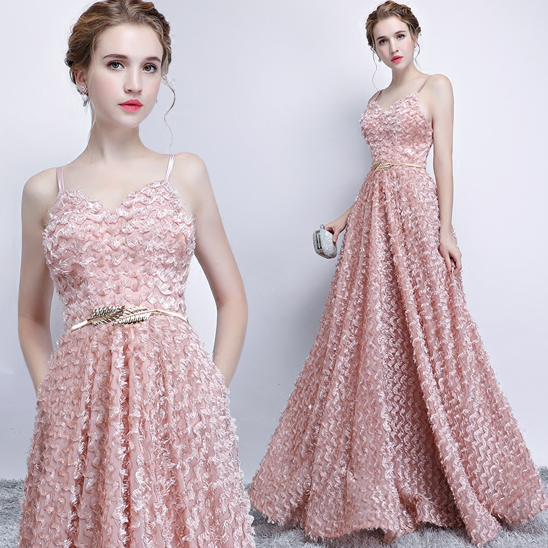Pink Lace Sleeveless Spaghetti Straps Long Bridesmaid Dress 1
