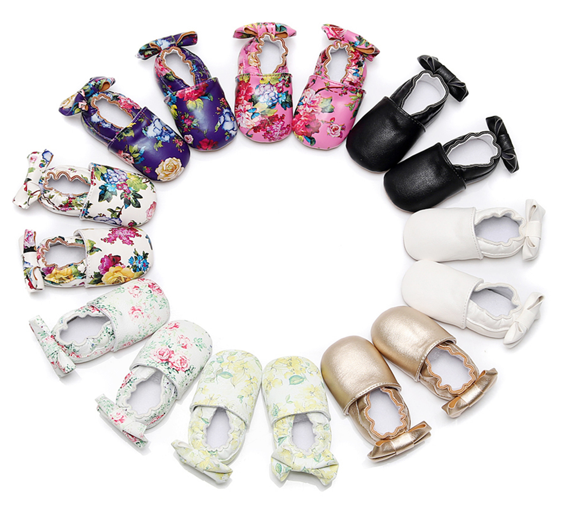 2018 New Multi Color Baby Soft Soles Infant Girls Floral Butterfly-knot Moccasins Toddler Shoes European and American Hot