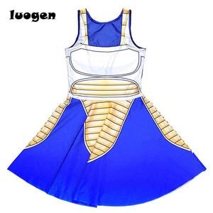 Image 5 - Sexy Girl Summer Dress Dragon Ball Cosplay Son Goku Vegeta Reversible Sleeveless Skater Women Pleated One Piece Dress Plus size