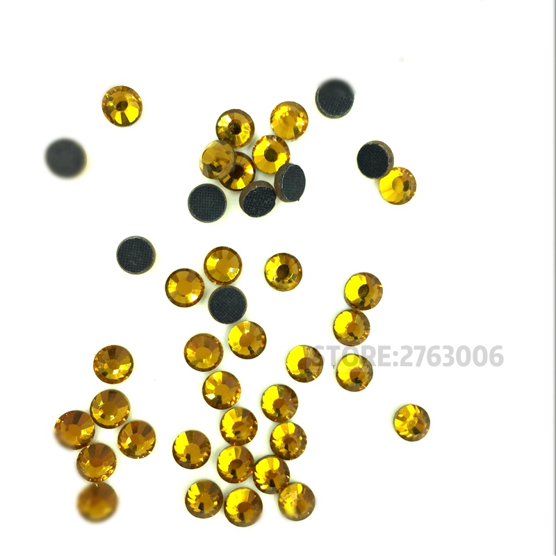 2017 Hot sale Citrine Rhinestone Topaz Crystal Hot-Fix Stones Top Quality  Strass For Clothes fdcdea268422