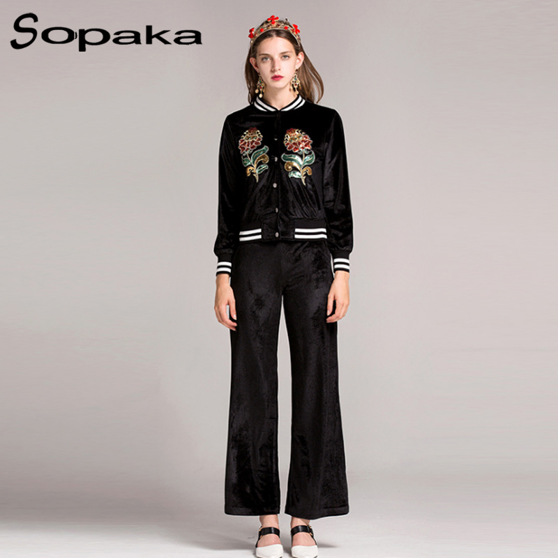 2017 Autumn Sequins embroidery Floral Full Sleeve Black Green Red font b Jacket b font Pants
