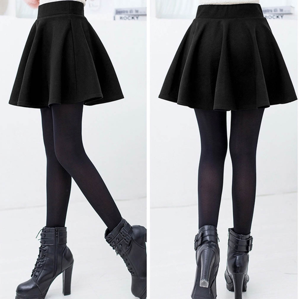 Fashion Unique Cotton Blend Women's Stretch Waist Plain Skater Flared Pleated Mini Skirt High Waist Causal Skirts 2018 New Hot