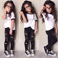 New Summer girls clothing sets European and American style letters t shirts+hole leggings 2pcs set fashion cotton kids suit
