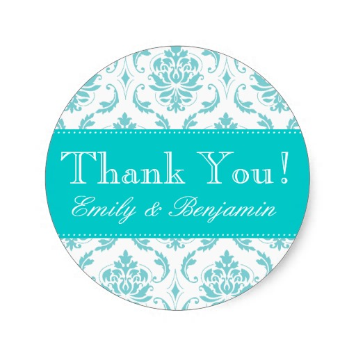3 8cm wedding names aqua damask thank you labels classic round sticker in stickers from home garden on aliexpress com alibaba group