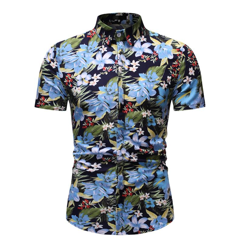 Short sleeve Blouse Mens clothing Floral New model Shirts Hawaiian Style Casual Shirt Flower