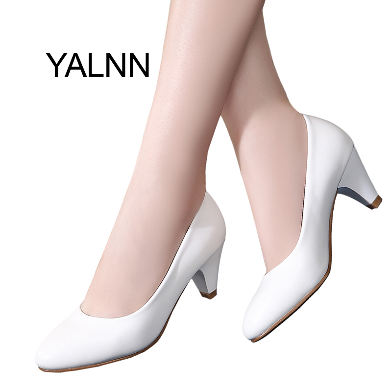 YALNN Concise OL Women shoes leather 5cm med High Heel Shoes Classic White Pumps Office Girls Shoes