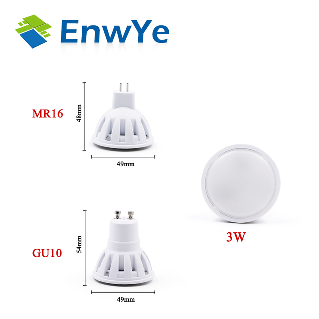 EnwYe LED Lamp GU10 MR16 LED Bulb 2W 3W 4W 5W 6W 220V Lampada LED Condenser lamp Diffusion Spotlight Energy Saving Home Lighting