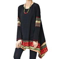 Vintage Print Ethnic Women Shirts Casual Spring Ladies Tops Long Blouses Chemise Femme Loose Camisa Plus