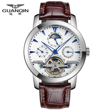 GUANQIN GQ16002 Skeleton watch men's automatic self-wind moon phase Tourbillon sapphire Leather strap Top Brand Luxury