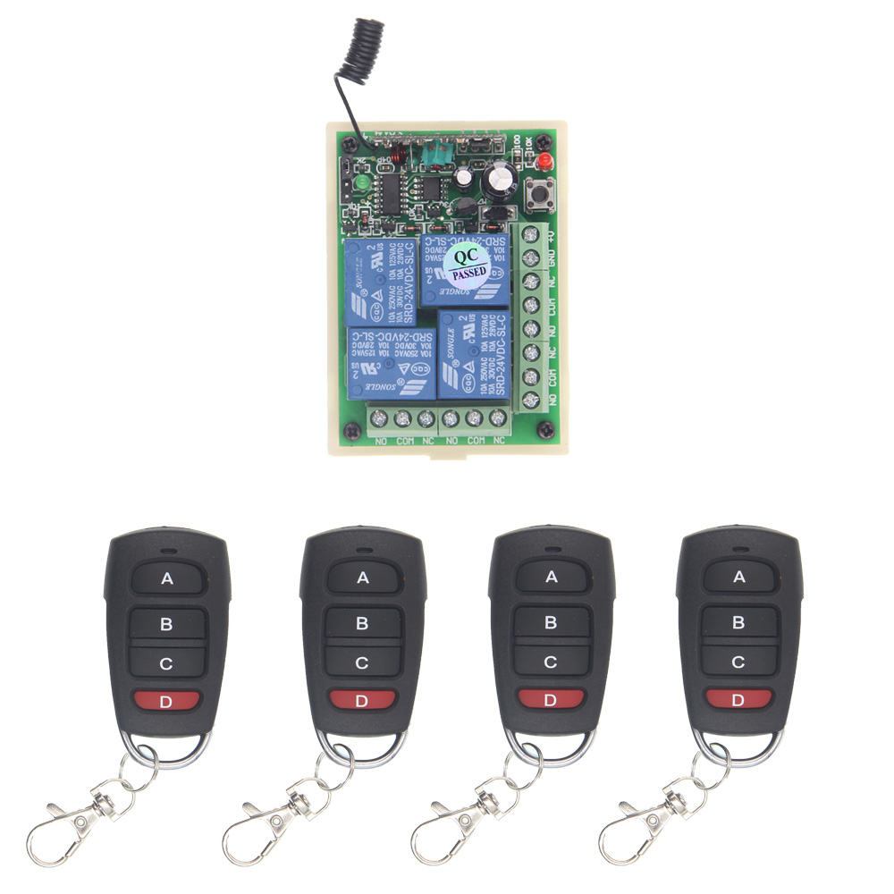 DC 12V 24V 10A 4 Channel 4CH RF Wireless Remote Control System 1 Receiver 4 Transmitter