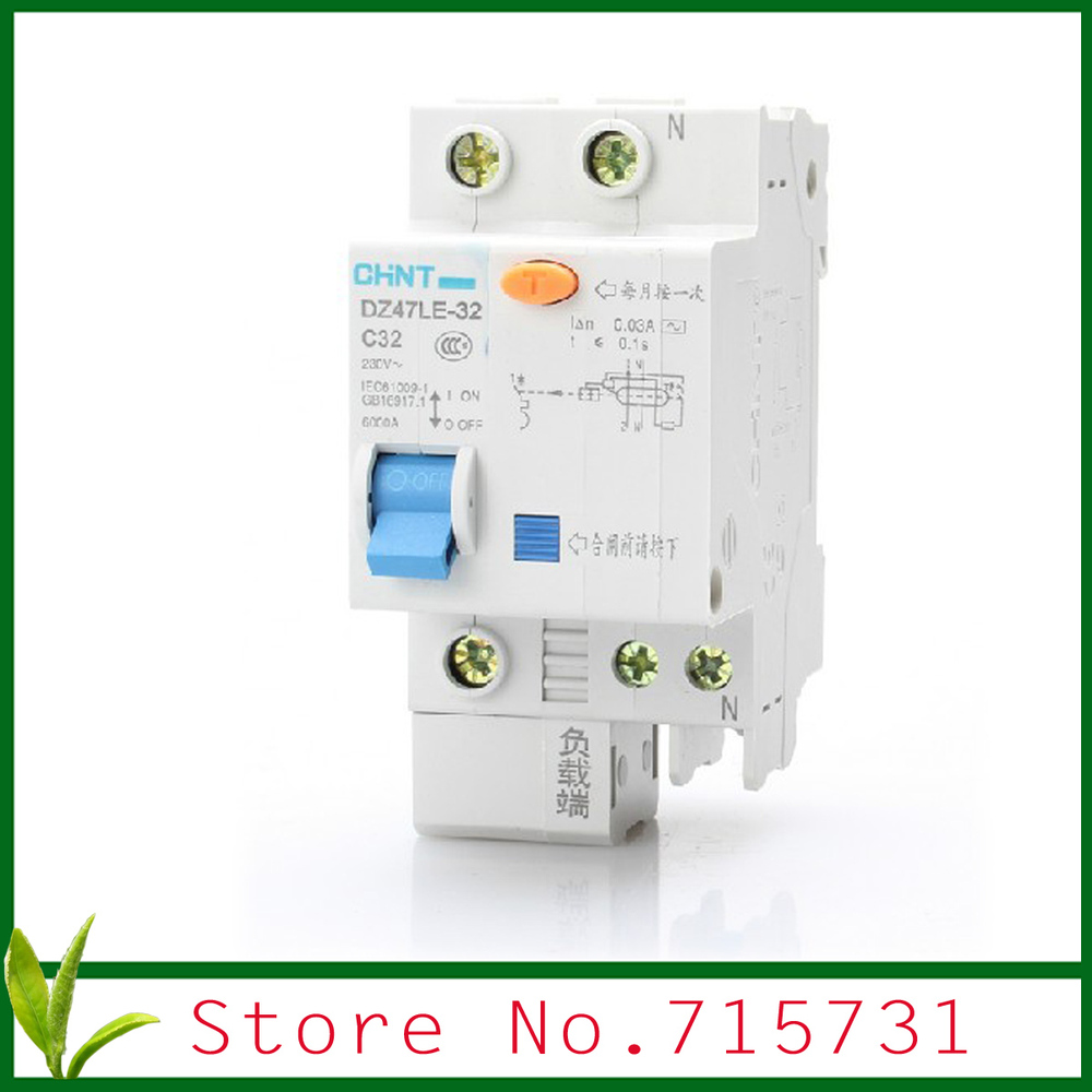 Dz47le 32 C32 1p N 32a Household Circuit Protection Earth Leakage Breaker Wiring Diagram Rccb In Breakers From Home Improvement On Alibaba