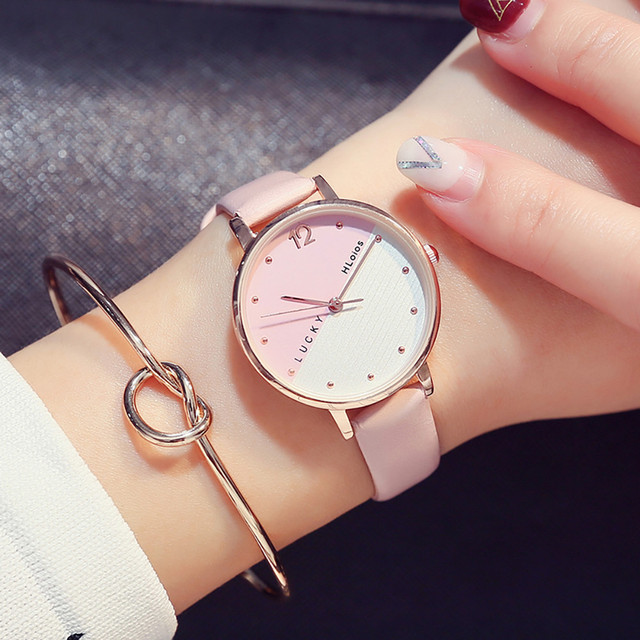 Fashion Ladies Watch Pink Female Leather Strap Quartz Wrist Watch Rose Gold Wome