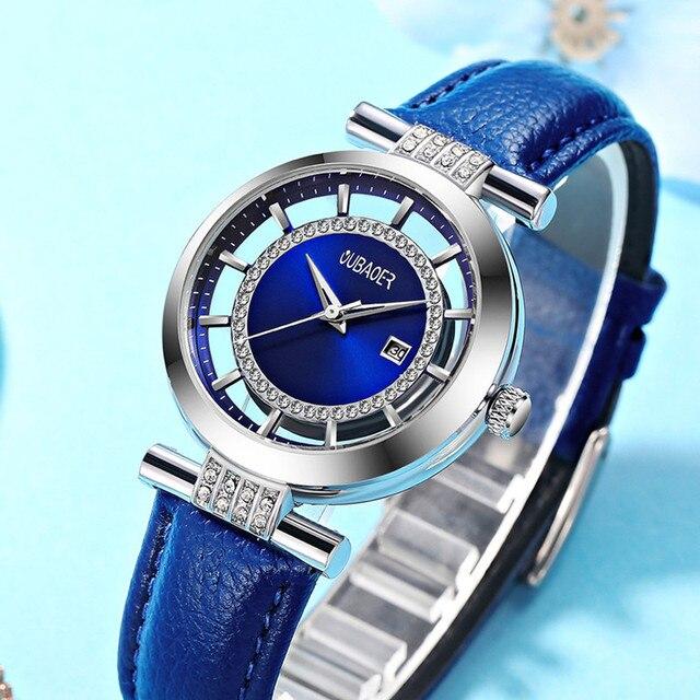 Oubaoer Лидирующий бренд дамы кварцевые наручные часы Бизнес Часы Для женщин модные часы подарок для Для женщин Relogio feminino
