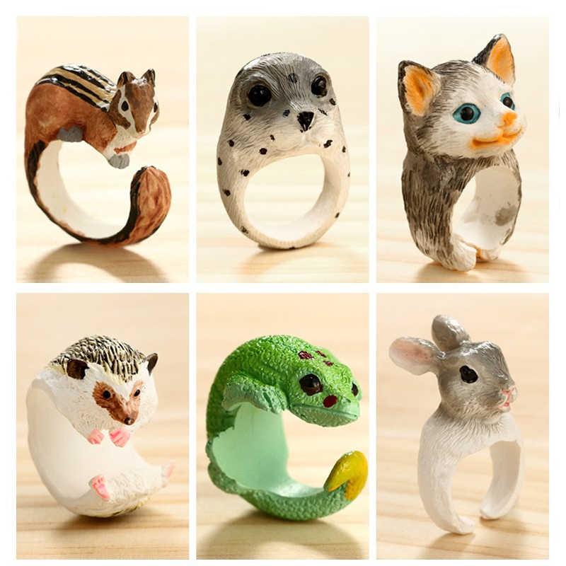 Docona милый Ежик Хамелеон кольца на фаланг пальца для женщин мужчин смолы Белка кролик кольца миди животных Ювелирные изделия Anillos 4422