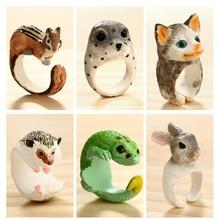 docona Cute Hedgehog Chameleon Finger Knuckle Rings for Women Men Resin Squirrel Rabbit Midi Animal Jewelry Anillos 4422