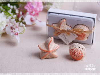 Wedding favor wholesale beach style Seashell and Starfish Salt and Pepper Shakers party gifts 100Pcs=50set
