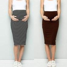 Женская комфортная юбка-карандаш в полоску с завышенной талией для беременных Женский корсет юбка в полоску для беременных и матерей после родов