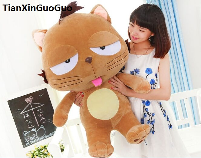 new arrival large 90cm brown cartoon cat plush toy soft stuffed doll throw pillow Christmas gift h2025 hot 17cm janpanese animal plush toy alpaca vicugna pacos lama arpakasso alpacasso soft stuffed plush doll toy christmas gift