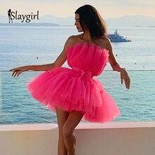 2019 メッシュ夏ミニドレス女性カジュアルボディコンドレスパーティーローズサッシセクシーなドレスクラブプリンセス包帯新ファッション Slaygirl