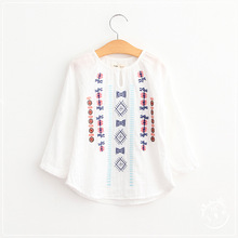 Baby Girls Embroidered Floral Shirts Kids Girls Cotton Nation Style Blouse 2016 Babies Autumn Jumper Tops Children's Clothing