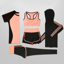 Sport Women Suit Sets 5 Pieces Sportwear Yoga Fitness Gym Set Workout Wear