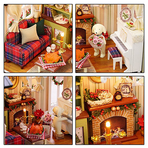 Image 3 - CUTEBEE Doll House Miniature DIY Dollhouse With Furnitures Wooden House Toys For Children  Holiday Times Z009