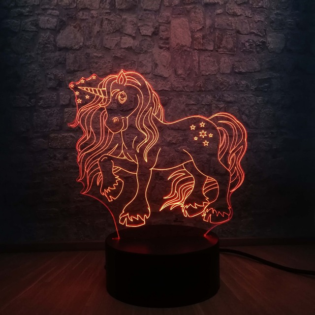 New Kawaii Unicorn Star 3D LED Lamp 7 Colors Change Home Night Light Multicolor RGB Bulb Room Decorative Child lamp Kids Toys